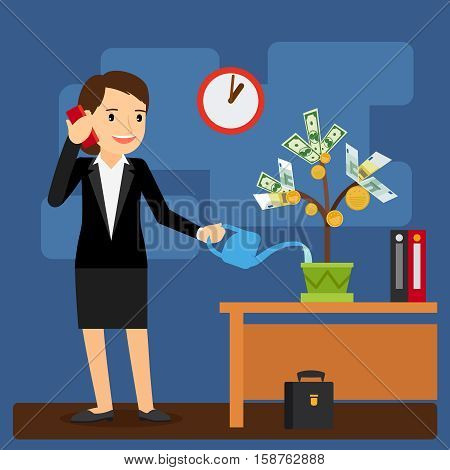 Businesswoman watering money tree in her office. Vector illustration