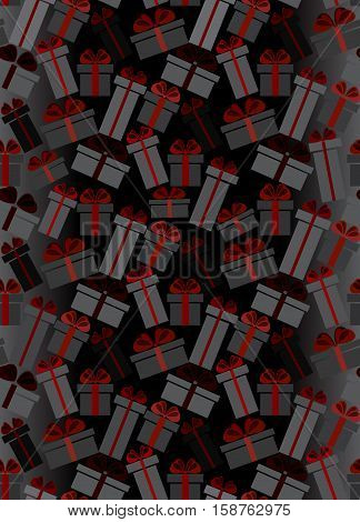 Black Friday sale vertical black red white gift boxes seamless pattern background. Vector illustration stock vector.