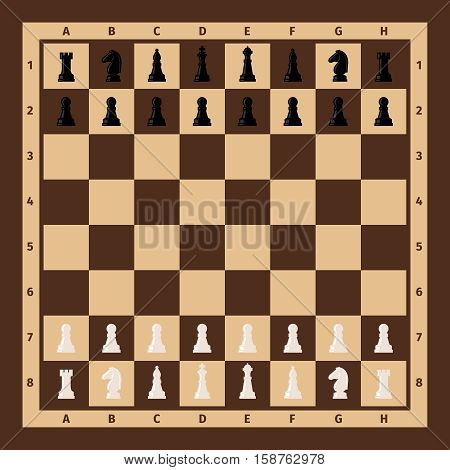 Chessboard with chess pieces on it. Vector illustration