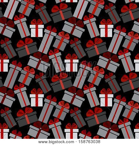 Black Friday sale black red white gift boxes seamless pattern background. Darck Black Friday sale design. Vector illustration stock vector.