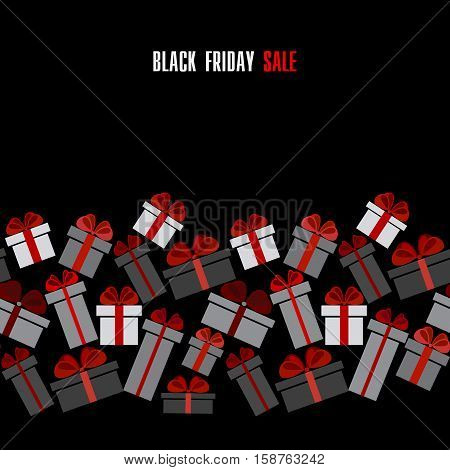 Black Friday sale black red white gift boxes horizontal seamless border. Darck Black Friday sale design. Vector illustration stock vector.