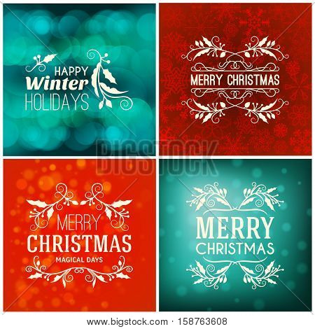 Set Of Merry Christmas And Happy New Year Decorative Badges For Greetings Cards Or Invitations. Vect
