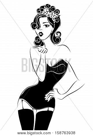 Sexy Pin Up Woman Sending An Air Kiss, Black And White Vector Silhouette