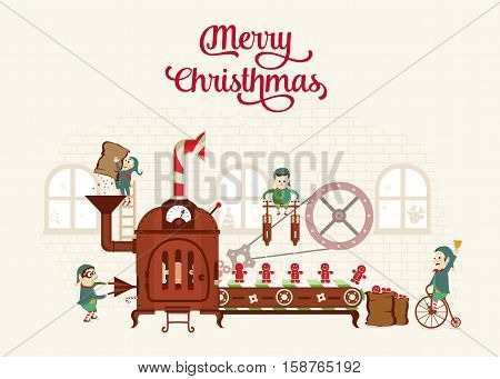 Santa`s Factory Vector illustrations for website and mobile website banners, posters, newsletter designs, ads, coupons, social media banners.
