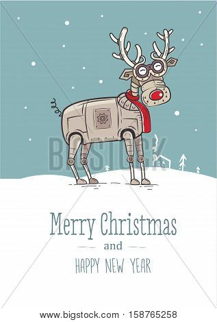 Funny Reindeer Christmas Card. Vector illustrations for website and mobile website banners, posters, newsletter designs, ads, coupons, social media banners.