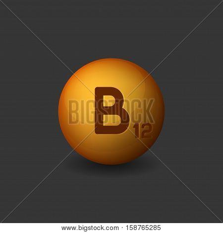 Vitamin B12 Orange Glossy Sphere Icon on Dark Background. Vector illustration