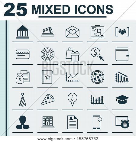 Set Of 25 Universal Editable Icons. Can Be Used For Web, Mobile And App Design. Includes Icons Such As Raise Diagram, Graduation, Security And More.