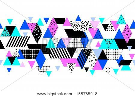Memphis horizontal seamless border with geometric shapes. Abstract 80s-90s styles design. Trendy memphis style. Colorful geometric hipster poster background set. Vector illustration stock vector.