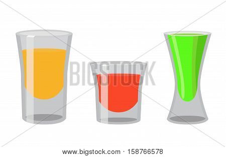 Shot glasses with golden tequila rum brandy absent. Cocktail shots for bar pub restaraunt. Flat vector style