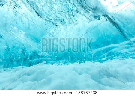 Ice wall background in Cave Iceland at Vatnajokull Glacier Jokulsarlon Nationa Park