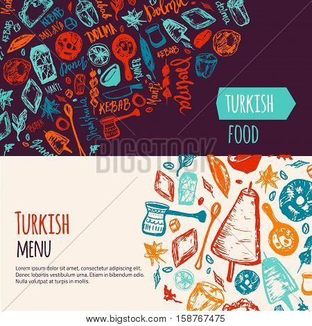 Turkish food hand drawn banner set with lettering and beverages with Kebab, Dolma, Shakshuka. Freehand vector doodles isolated on dark background.