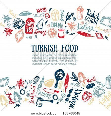 Turkish food hand drawn set with lettering and beverages with Kebab, Dolma, Shakshuka. Freehand vector doodles isolated on white background.