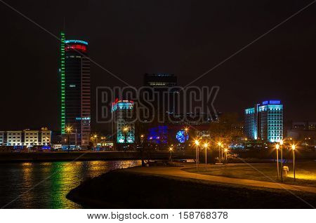 Belarus Minsk Pobediteley avenue at night the lighting of houses 19.11.2016 year the editorial Avenue Winners