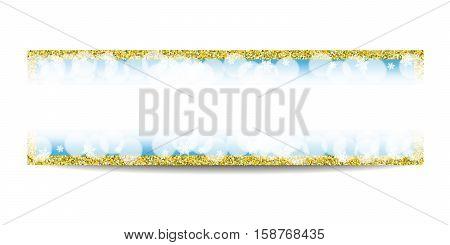 Winter horizontal banner template. Empty golden frame. Snowflakes, bokeh, fog, blur and snow on blue background. Glitter sequins. Flyer design. Vector EPS10 illustration.