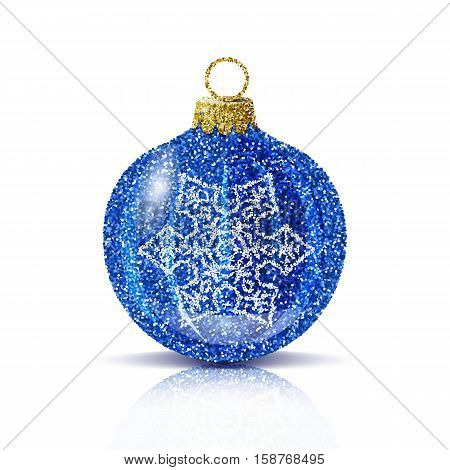 Isolated blue christmas ball with silver snowflake. Glitter sequins texture. Realistic decoration for christmas tree or new year. Brilliance sparkle. Reflection and shadow. Vector EPS10 illustration.
