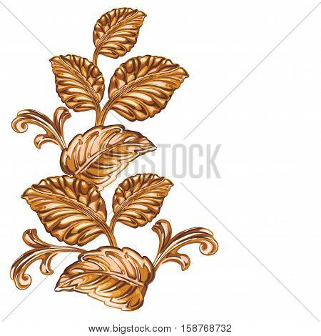 Decorative bronze floral element on a white background.