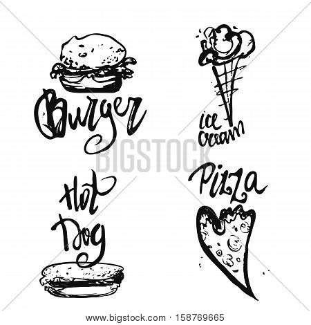 Set of fastfood hand-drawn freehand sketch drawings on white background with lettering. Pizza slices, sandwich, burger, ice-cream
