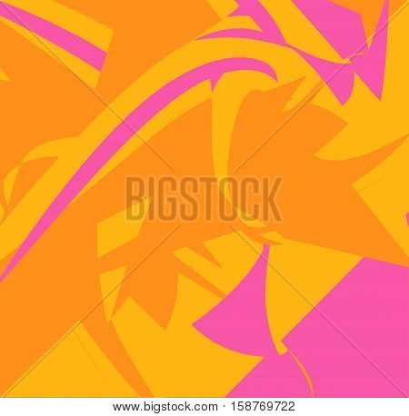 Orange and dark pink geometric abstraction painted in photoshop