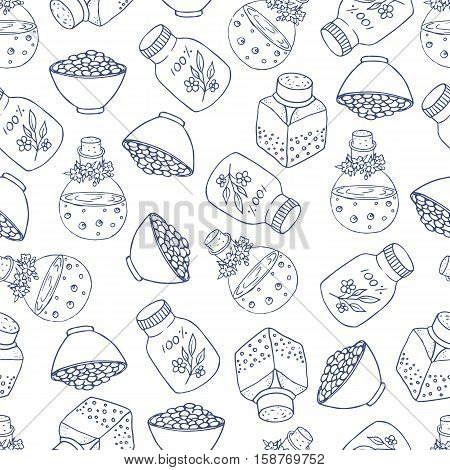 Vector hand drawn seamless pattern with medical bottles
