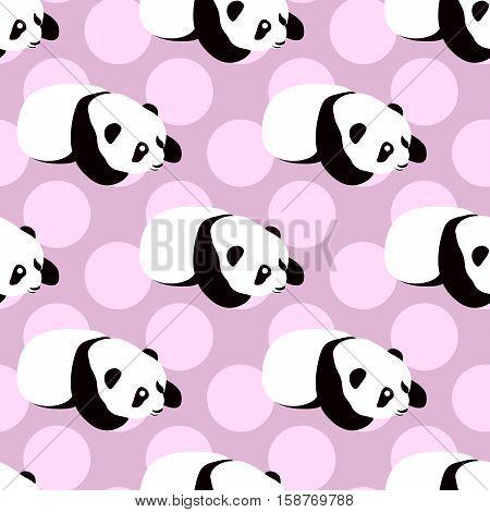 Panda bear vector background. Seamless pattern with cute cartoon sleeping panda. Pattern in swatch menu
