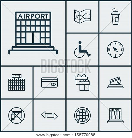 Set Of Transportation Icons On Forbidden Mobile, Locate And Plastic Card Topics. Editable Vector Illustration. Includes Drink, Paralyzed, Disabled And More Vector Icons.
