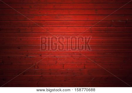 Red Rural Wooden Wall, Close-up Background