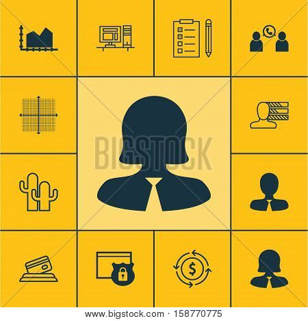 Set Of 12 Universal Editable Icons. Can Be Used For Web, Mobile And App Design. Includes Icons Such As Business Woman, Manager, Personal Skills And More.