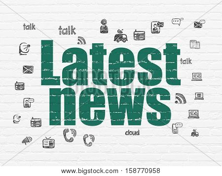News concept: Painted green text Latest News on White Brick wall background with  Hand Drawn News Icons