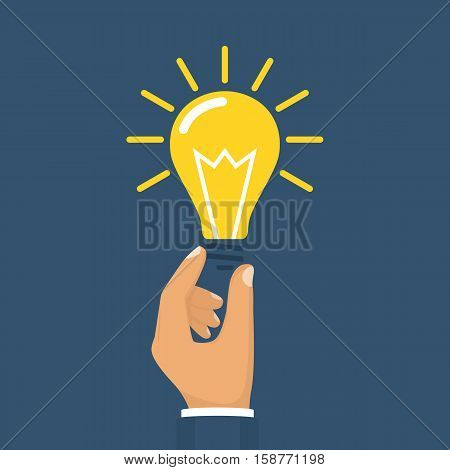 Hand holding lightbulb concept. Business idea solution innovative technology. Creative ideas. Vector illustration flat style design. Electric lamp in hand. Invention eureka.