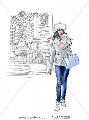 woman near Saint Michel in Paris in winter - vector illustration