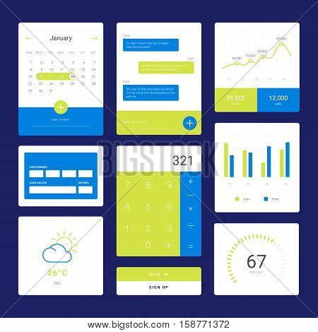 Flat graph and chart vector set. Colorful modern bar and pie infographic concept. Mobile chat, speech bubble. Calculator and daily calendar widget. Weather and Checkout. App mobile dashboard screen