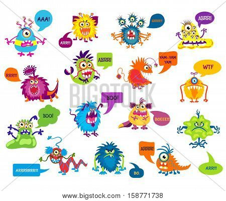 Cartoon silly monsters with funny inscriptions vector illustration. Monsters growling and screaming, character monster scaring