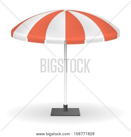Red striped market umbrella for outdoor event vector illustration. Umbrella protection from sun, tent round umbrella for rest outdoor