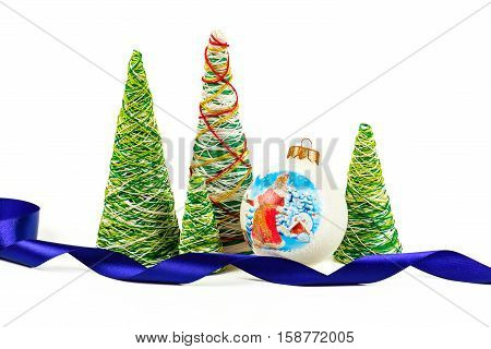 Creative decorative New Year tree of handwork from threads