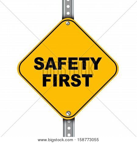 Illustration of yellow signpost road sign of safety first