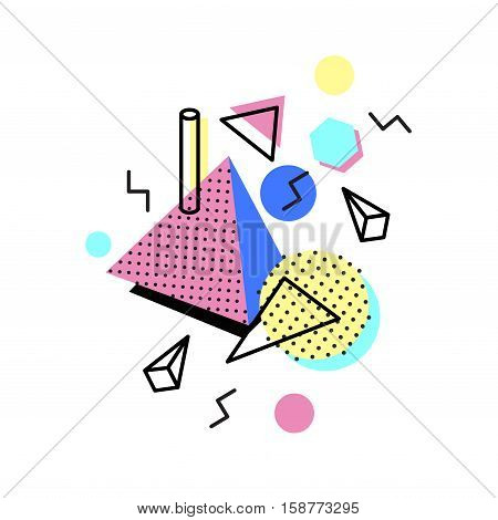 Memphis trendy design with geometric shapes. Abstract 1980-90 styles or memphis style. Colorful geometric hipster poster background. Vector illustration stock vector.