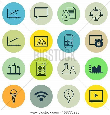 Set Of 16 Universal Editable Icons. Can Be Used For Web, Mobile And App Design. Includes Icons Such As Analytics, Conference, Wax And More.