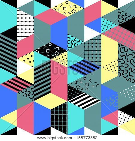 Memphis seamless pattern of geometric shapes. Abstract 1980-90 styles design. Trendy memphis style. Colorful geometric hipster poster background. Vector illustration stock vector.