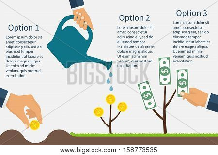 Infographics financial profit growth. Growth process money. Business start-up. Monetary contributions. Business development revenue. Business metaphor. Earning investment. Vector flat design.