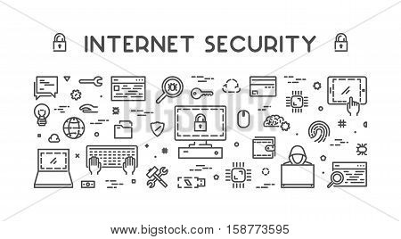 Line design concept web banner for internet security. Modern linear horizontal banner for cyber security. Outline creative style concept for computer security.
