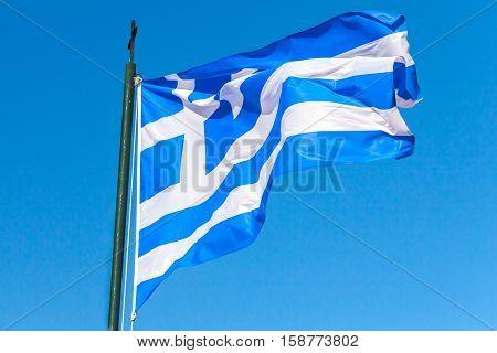 Flag Of Greece Wavin Gover Blue Sky