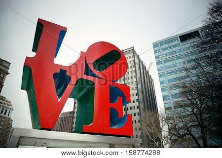 PHILADELPHIA, PENNSYLVANIA - MAR 26: Love Park in city center with buildings on March 26, 2015 in Philadelphia. It is the largest city in Pennsylvania and the fifth in the United States.