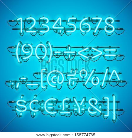 Glowing Neon Azure Blue Numbers. Used pattern brushes included. There are fastening elements in a symbol palette.