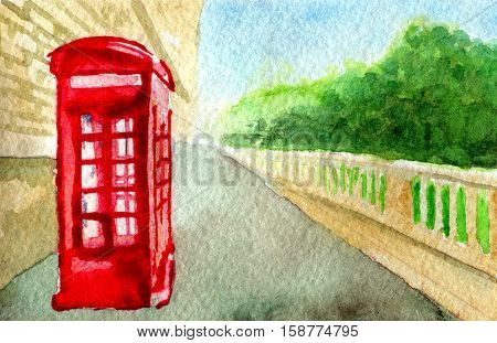 watercolor sketch of red phone booth. City
