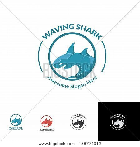 waving angry blue shark with circle grid system logo concept vector with many alternative colors