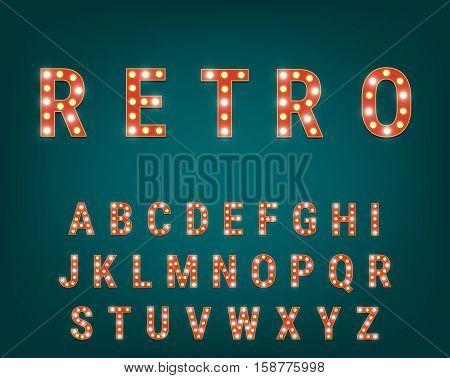 Vector typeface with bright light bulbs. Retro cinema and show alphabet