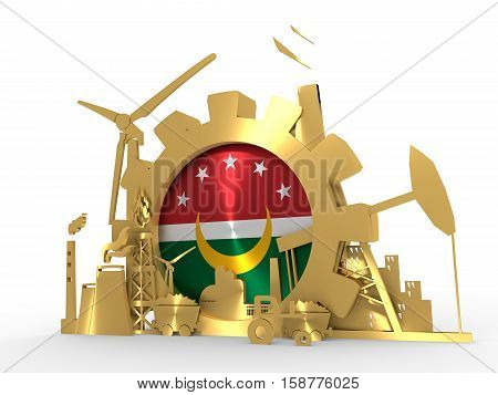 Arab Maghreb Union - AMU association of five national economies members flag in golden gear. A trade agreement unity among Arab countries of the Maghreb in North Africa. 3D rendering