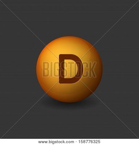 Vitamin D Orange Glossy Sphere Icon on Dark Background. Vector illustration