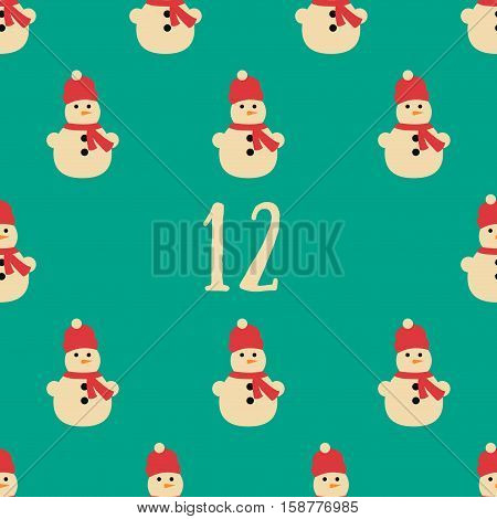 Christmas poster. Colorful Christmas Advent Calendar. Countdown to Christmas- 12.