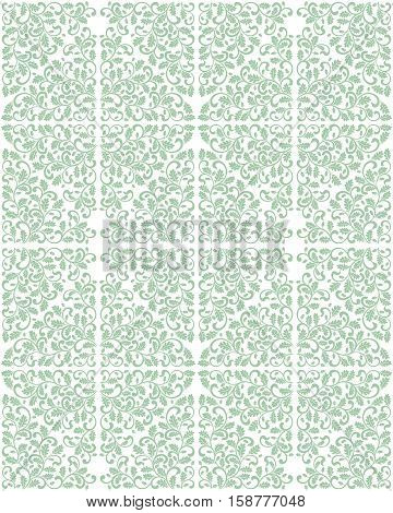Seamless damask pattern with oak leaves. Rich ornament, Vintage Damascus style. It can be used for printing on fabric, wallpaper, wrapping